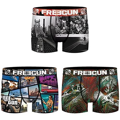 Freegun Boxer FG/1/BM/PK3 sous-vêtement, A6B, M Homme