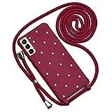 QULT Funda iPhone con Cordón para el Cuello – Funda Protectora Diseñada para Funda Samsung Galaxy S21/S21 5G – Funda de Silicona Suave Resistente a Golpes – Verde con Lunares Vino Rojo