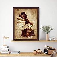 KDSMFA蓄音機ヴィンテージプリントアンティーク蓄音機工業用壁アートキャンバス絵画スチームパンクポスターミュージシャンギフト壁の装飾/ 19x27インチ(フレームなし)