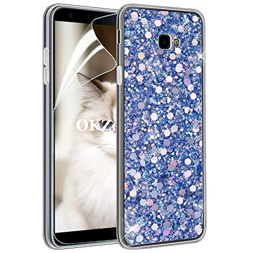 OKZone Cover Galaxy J4 Plus 2018 [con Pellicola Proteggi Schermo], Custodia con Brillantini Ultra Sottile Design Case di Alta qualità in Silicone TPU Bumper Cover per Galaxy J4 Plus 2018 (Blu)