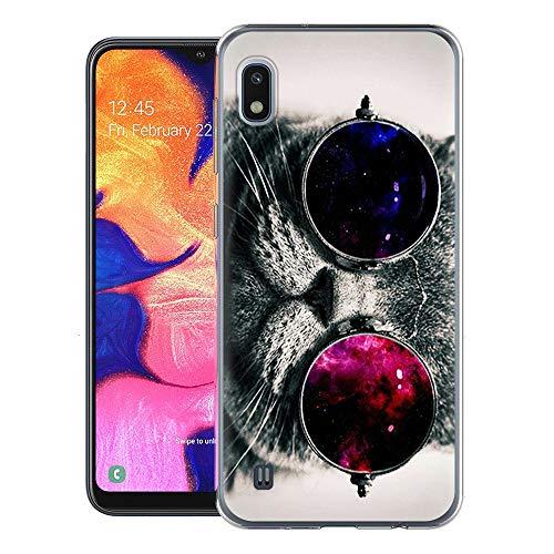 ZhuoFan Cover Samsung Galaxy A10, Custodia Cover Silicone Trasparente con Disegni Ultra Slim TPU Morbido Antiurto 3D Cartoon Bumper Case Protettiva per Samsung Galaxy A10 (Gatto)