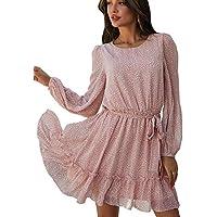 Theenkoln Women's Casual Floral Printed Long Sleeve Mini Dress