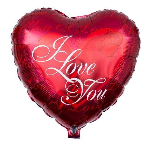 Ballongruesse – roter Herzballon I Love You – 38cm - Lieferung heliumgefüllt im Karton – Liebesgeschenk Geburtstag