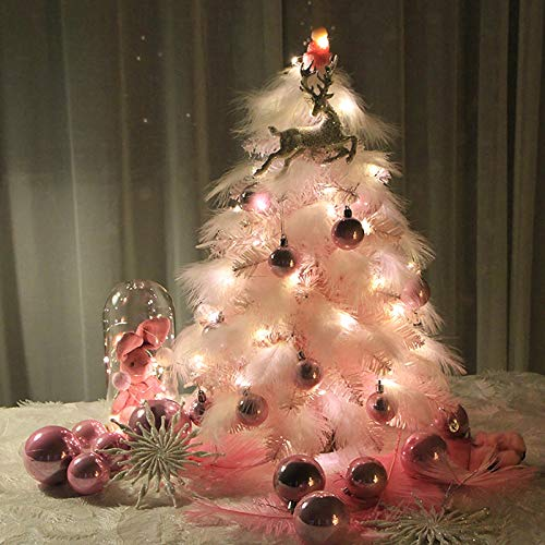 ZEIYUQI Prelit Small Christmas Tree Pink Feather Decoration Christmas Tree with LED Lights Faux Christmas Tree Indoor Holiday Home Decor
