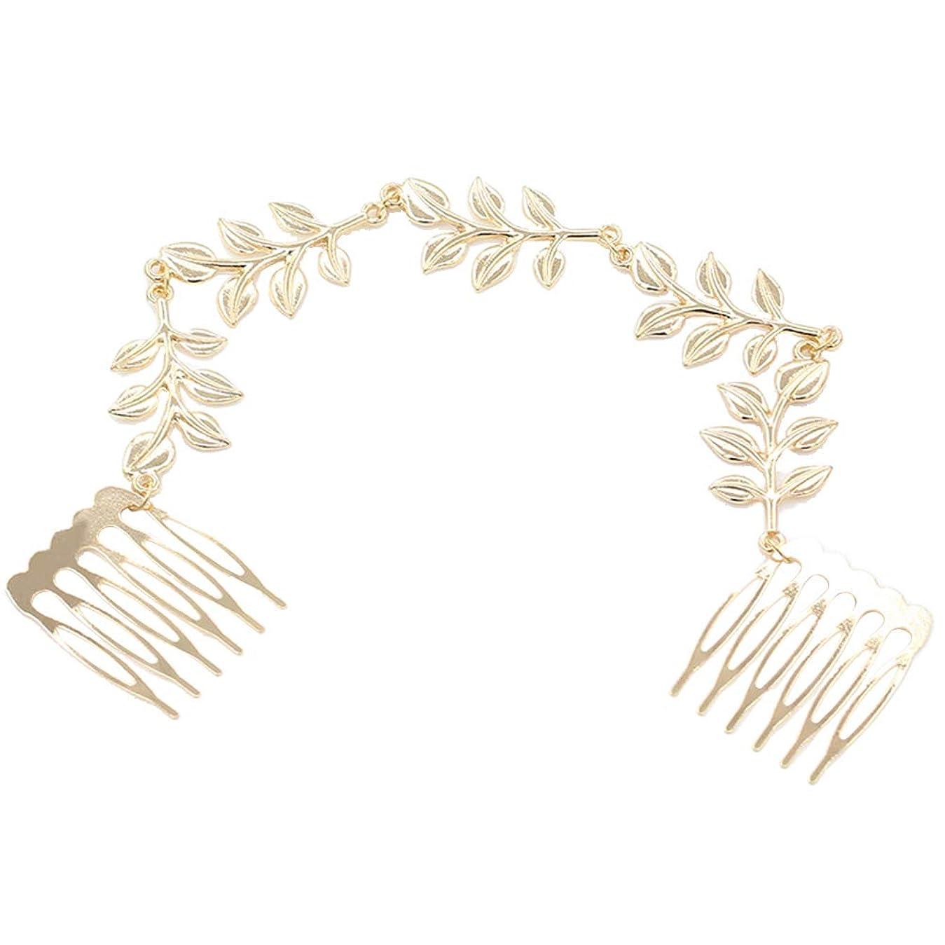 レプリカ眠り消すLurrose 花嫁のヘアアクセサリー結婚式の髪つる葉髪の櫛合金髪サイドコームヘアチェーン用女性ブライダル