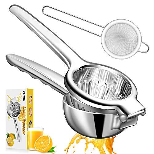 VEHHE Lemon Squeezer, Super Large Capacity Citrus Juicer 304 Stainless Steel Metal Lemon Juicer, 3.54 Inch Juicer Hand Press with Filter for Extracting Lemon Limes Vegetables