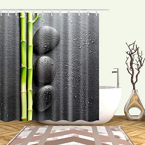 3D Duschvorhang, Morbuy Digitaldruck Top Qualität Schimmelresistenter & Wasserabweisend Shower Curtain Waschbar Mit 12 Duschvorhangringen 100prozent Polyester (Schwarzer Stein,120x180cm)