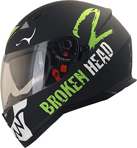 Broken Head Adrenalin Therapy VX2 - Motorrad-Helm Mit Sonnenblende - Matt-Schwarz & Weiß - Größe M (56-57 cm)