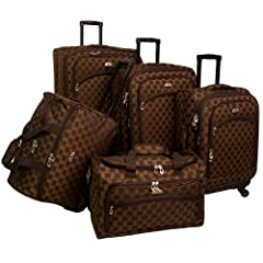 Piece dimensions lxwxh - inches and empty weights: 28 inch upright 18x10x28 9.8-lbs 24 inch upright 16x9x24 8-lbs 20 inch carry-on upright 14x8x20 6.95-lbs carry-on wheeled duffel 19x10x12 4.05-lbs personal carry-on 18x8x11 1.9-lbs 600 denier polyest...
