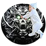 laire Daniel Demon Fahnen Skelett Ultra weiche Baumwolle Baby Kinder Teppich Runde Fläche Teppich Kleinkind Spielmatte Durchmesser 70 x 70 cm, Mehrfarbig01, 70x70cm/27.6x27.6IN