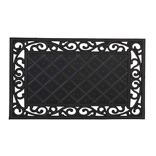 Relaxdays – Felpudo Rectangular para la Entrada del hogar, Patrones Florales, 0.5 x 75 x 45 cm, Hecho de Caucho/Goma, Antideslizante, Color Negro
