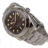 WhatsWatch Parnis 40MM Coffee Dial Sapphire Glass Miyota Automatic Movement Men's Watch Folding Clasp -386