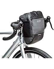 WOTOW Reflective Bike Handlebar Bag, Waterproof Front Frame Bicycle Basket Pack Cycling Tool Accessories Storage Pouch With Inner Pocket for Mountain Road Bike Scooter Commuting Night Riding (4.5L) (Black)