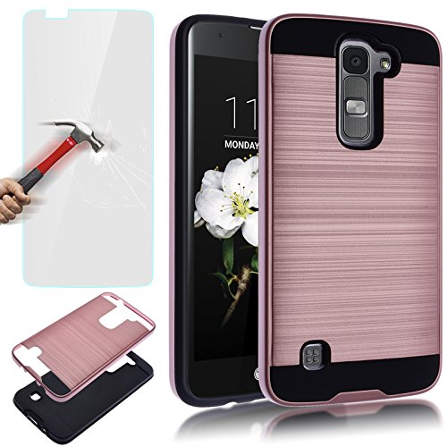 LG K7 Case,LG Tribute 5 Case,AUU Dual Layer Slim Brushed Metal Texture Full Body Impact Resistant Shockproof Heavy Duty Cover Shell for LG K7 Tribute 5 Rose Gold +Tempered Glass Screen Protector