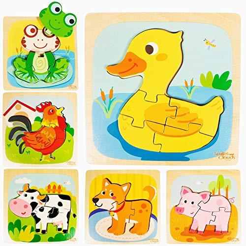 Smiles and Clouds Toddler Puzzle Wooden Puzzles 1-3 Montessori Educational Toys Toddlers 1 2 3 Year Old Boys Girls 6 Animal Shape Gifts Jigsaw Wood Puzzle Kids Learning Baby Chunky Stem Travel Toy