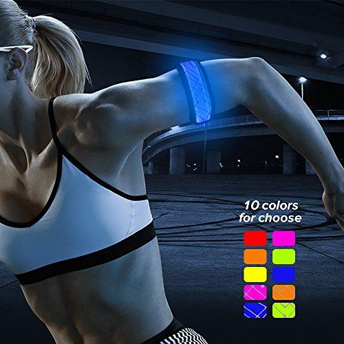 BSEEN LED Slap Band, Glow Bracelet, Running Armband Glow in The Dark (Blue-2)