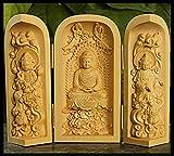 LKXZYX Buddha Statua brucia essenze Zen Giardino Grande incenso Fengshui Figurine Bosso Intaglio Statua del Buddha Sanshengguan Scatola Aperta Artigianale in Legno