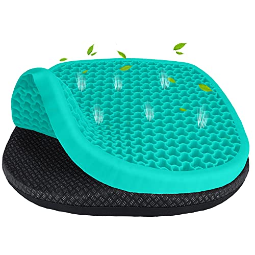Gel Seat Cushion, Cooling Office Chair Cushion with Non-Slip Cover, Ergonomic Egg Seat Cushion, Extra Large Thick Gel Cushion for Desk Home Car Wheelchair, Sciatica Tailbone & Back Pain Relief (Green)