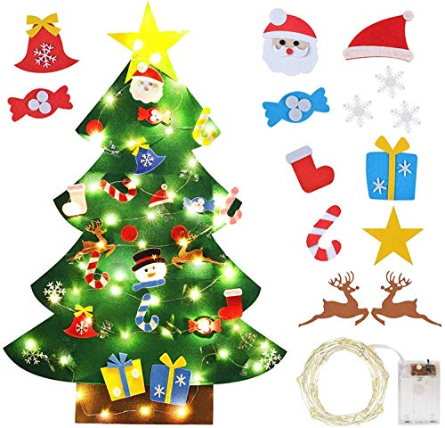 3D Felt Christmas Tree, DIY Christmas Tree with 30 pcs Ornaments, Felt Xmas Tree with 3m 50 LED String Lights, for Holiday Party Home Decor Kids Xmas Gift