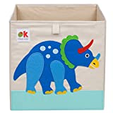 Wildkin Kids 13 Inch Storage Cube for Boys and Girls, Perfect Use in Your Child's Bedroom or Playroom, Storage Cubes Helps Keep Toys, Games, Books and Art Supplies Organized, Olive Kids(Dinosaur Land)