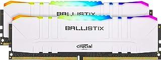 Crucial Ballistix Gaming Memory, 2x8GB (16GB Kit) DDR4 3600MT/s CL16 Unbuffered DIMM 288pin White RGB, (PC4-19200), DDR4, ...