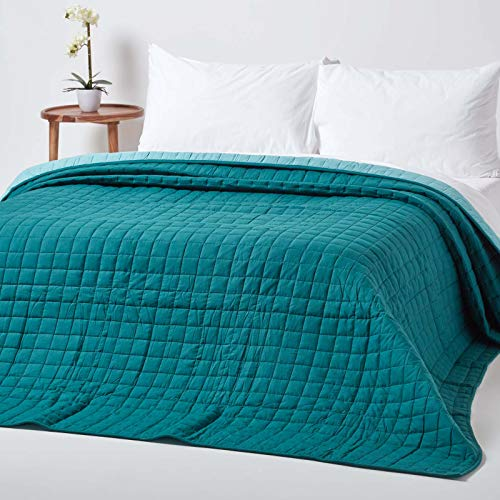 Homescapes Gesteppte Tagesdecke, Petrol/hellblau, Bettüberwurf aus 100prozent Baumwolle, Wendetagesdecke, 230 x 250 cm