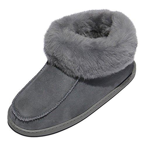 Hollert Leather Lammfell Hausschuhe EWA Premium Damen Fellschuhe aus 100% Merino Schaffell Größe EUR 41, Farbe Grau