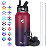 Elvira 32oz Vacuum Insulated Stainless Steel Water Bottle with Straw & Spout Lids, Double Wall Sweat-proof BPA Free to Keep Beverages Cold For 24Hrs or Hot For 12Hrs-Wine Red/Violet Gradient
