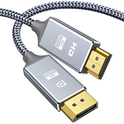 Snowkids Cable DisplayPort a HDMI -1,8m 4K UHD AdaptadorDisplay Port a HDMI - Nylon Trenzado unidireccional Cable DP a HDMI Compatible con DELL, Lenovo, HP