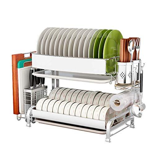 Escurridor de Acero Inoxidable 304 para lavavajillas con Bandeja |Cocina con Rejilla de Drenaje |Estante de Almacenamiento de Cocina |Estante de Secado para Cubiertos Estante de Almacenamiento de