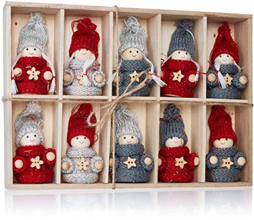 Brubaker 10-teiliges Set Weihnachtswichtel aus Holz und Strick - Baumanhänger Weihnachtsanhänger - 8 cm in Geschenkbox