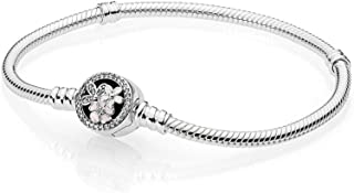Pandora 590744CZ-19 Moments Sterling Silver Poetic Blooms Bracelet for Women - 19 cm