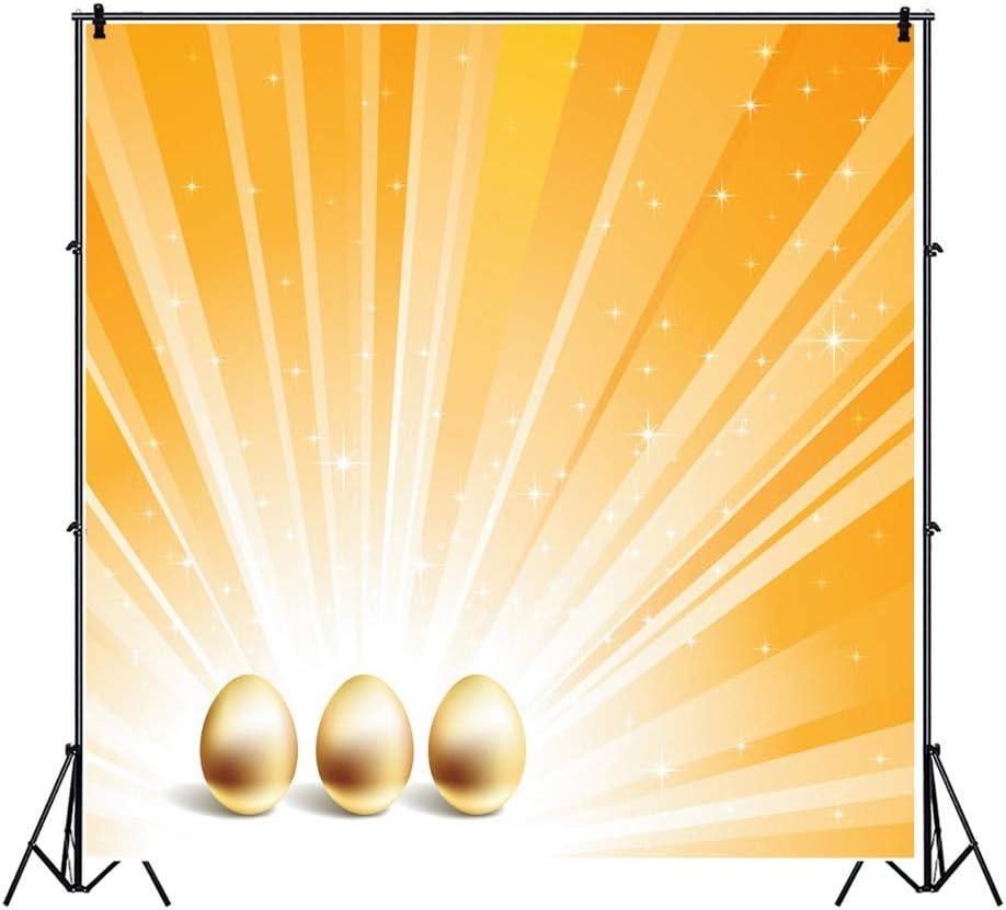 Leowefowa 10x10ft Easter Egg Background Golden Eggs Radial Light Beams Shiny Spots Vinyl Photography Backdrop Children Boy Girl Adult Portrait Photo Easter Day Decoration Props Wallpaper