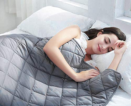 BarryLLL Cool Weighted Blanket (15lbs 48 x 72,) | Grey | Twin Size | Calm Sleeping for for Adults and Kids | Comfortable Fabric | Premium Glass Bead | 100% Cotton