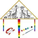 MJ-Brand Cometa para niños - Una Cometa Que se Puede Pintar DIY - Gran Juguete al Aire Libre para Principiantes - Muy fácil de Volar, Regalos de Kite Surf