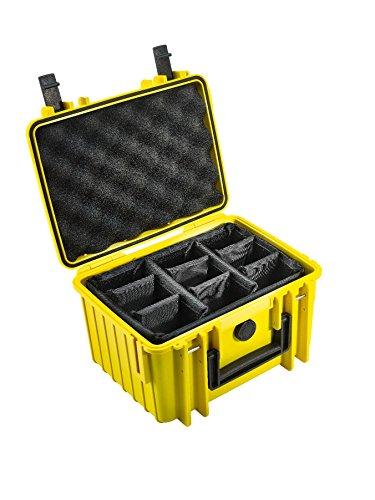 B&W Outdoor Case Hartschalenkoffer Typ 2000 mit Facheinteilung, anpassbar (Hardcase Koffer IP67, wasserdicht, Innenmaß 25x17,5x15,5cm, Gelb)