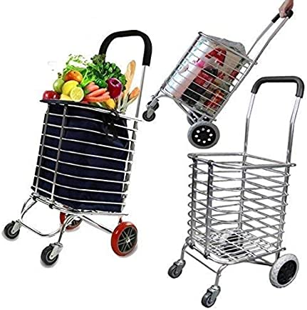 Swastik Luggage Rolling 4 Wheels Trolley Cart Aluminum Folding/Shopping Cart Trolley with Wheel Deluxe Utility Cart