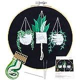 Stickerei Kreuzstich Set Anfänger Stickerei Set Embroidery Kit Sticken Set Starter Kit mit 1 Stickrahmen,Stickgarn,3 Nadel Stickset mit Vorlage für Anfänger/Erwachsene DIY Kunst, Handwerk