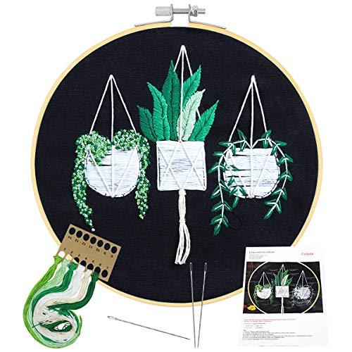 HQdeal Broderie Kit,Kit de Broderie Complet avec Patrons et Instructions,Kit Point de Croix,Cercle Broderie en Bambou Vêtements à Broder 3 Aiguilles pour Débutant, Adultes