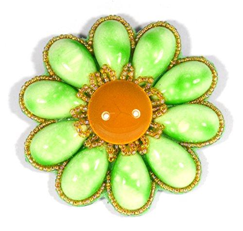 Broche Flor Paquerette verde manzana pálido y naranja (porcelana y cuentas de cristal–Bijou Fantasía