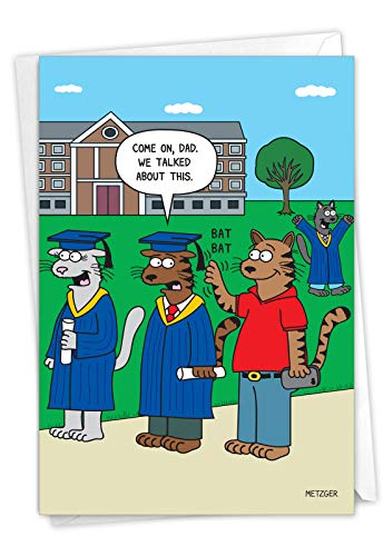 NobleWorks - 1 Funny Graduation Card with Envelope - Cartoon Humor Card for Graduate, College or High School - Cat Grad C3170GDG