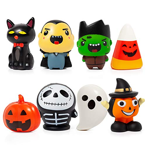 Halloween Themed 8 Pack Squishy Toys Slow Rising,KIZCITY Novelty Halloween Party Favors Toys for Boys Girls and Kids, Super Soft and Squishy Stress Relief Toys