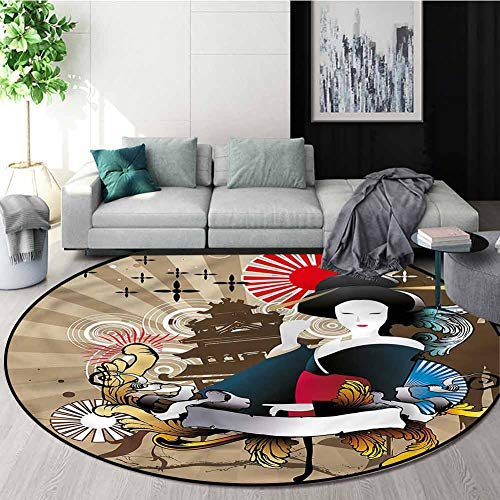 Best Deals! RUGSMAT Modern Washable Creative Modern Round Rug,Japanese Art Geisha Woman Pattern Floo...