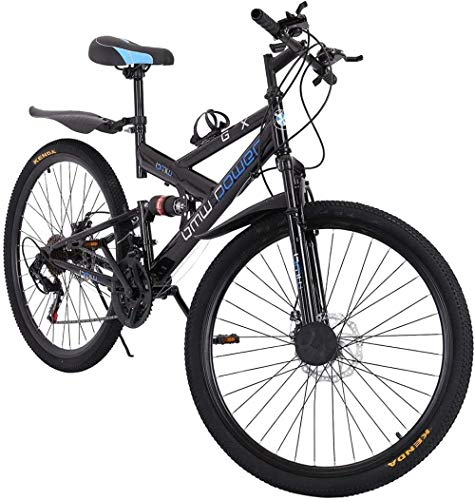 SYCY Bicicleta de 26 Pulgadas y 21 velocidades Bicicleta de montaña Completa de Aluminio para jóvenes Bicicletas de Carretera de suspensión Completa con Frenos de Disco Bicicleta