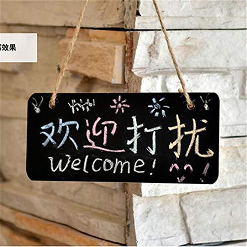Winwinfly Mini-Holztafel, hängende Tafel Schilder Tafeln für Küchentürfenster, kleine Kreidetafel Message Reminder Board Hängendes Display für Shop Office Hochzeitscafés, 18 * 8 cm