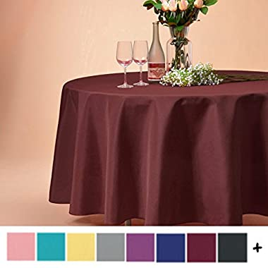 Remedios 120-inch Round Polyester Tablecloth Table Cover - Wedding Restaurant Party Banquet Decoration, Burgundy
