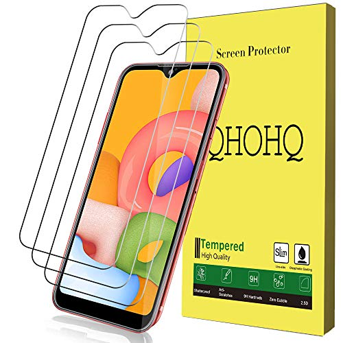 [3-Pack] QHOHQ Screen Protector for Samsung Galaxy A01,[9H Hardness] HD Transparent Scratch-Resistant [Bubble Free] Tempered Glass