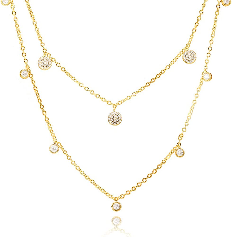 EGOO&YAMEE Adjustable Layered Metal Choker Necklace Handmade 18K Gold Zircon Gold Delicate Heart and Bar Bead Necklace Chokers Necklace