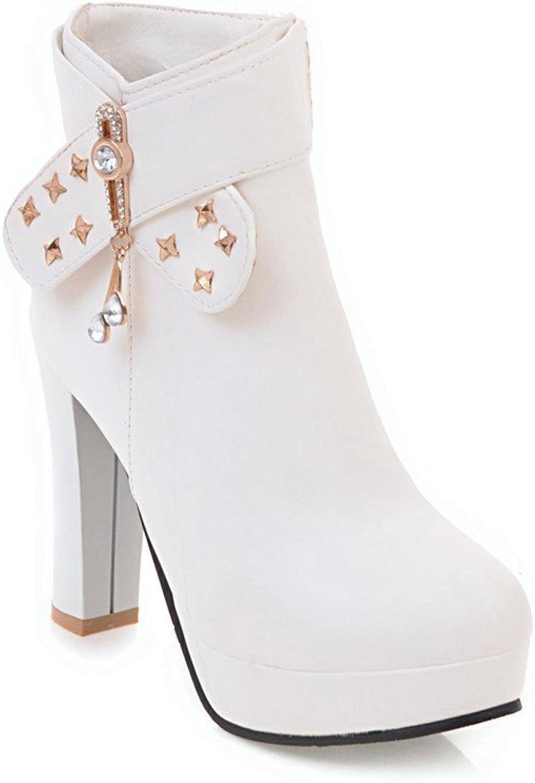 Ladola Womens Zipper Charms Platform Solid Chunky Heels Urethane Boots