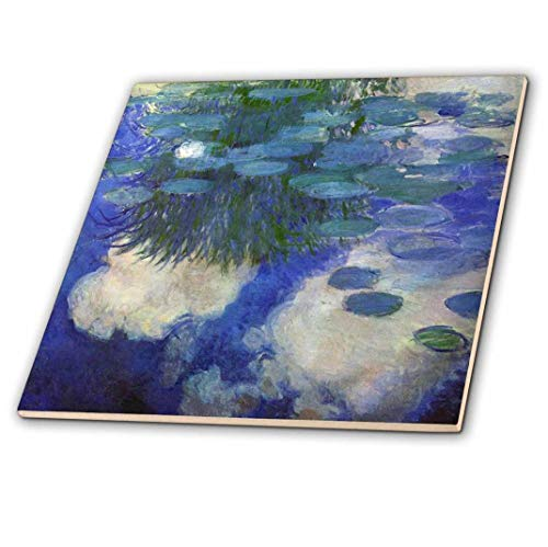 """3dRose ct_203691_2 Print of Monet Painting Water Lilies Lilac Ceramic Tile, 6"""""""